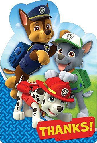 Paw Patrol Thank You Cards (8 Pack) - Party Supplies -