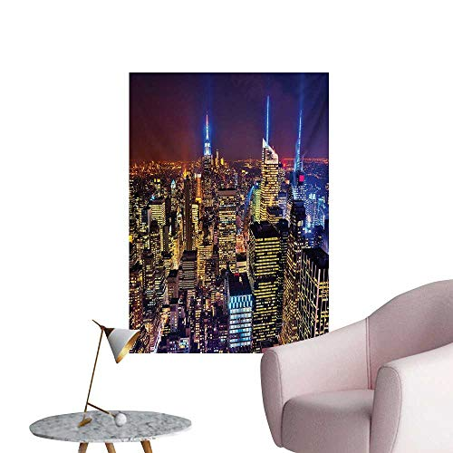 (Anzhutwelve New York Wallpaper Aerial Cityscape Landmark Fourth of July Independence Penthouse Modern Art ImagePurple Gold W32 xL36 Cool Poster)