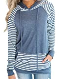 Naier Womens Hooded Sweatshirt Pullover Hoodie Long Sleeve Sweaters Striped Teen Tops Blue M
