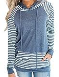 Naier Womens Hooded Sweatshirt Pullover Hoodie Long Sleeve Sweaters Striped Teen Tops Blue L