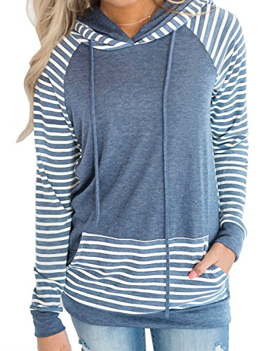 Sweatshirt Pullover Hoodie Long Sleeve Sweaters Striped Teen Tops Blue L ()