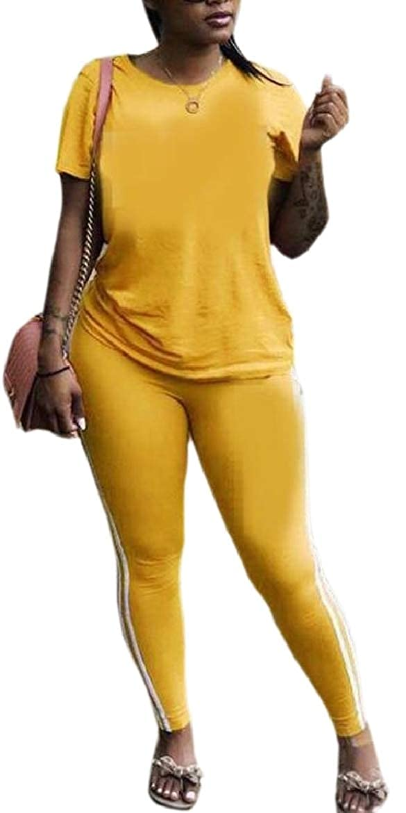security Women Short Sleeve 2 Piece Outfits Tracksuit Sets