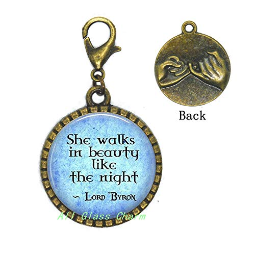 AllGlassCharm Quote She Walks in Beauty Like The Night-Poetic Jewelry-Literary Gift-Literature Zipper Pull-Poem Lobster Clasp,AS0238