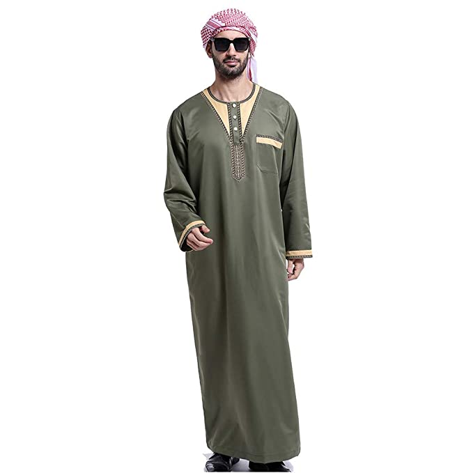 55f5cb81fbc1 Fatchot Muslim Men s One-Piece Long Sleeve Thobe Loost Fit Design Elegant  Hit Color Saudi
