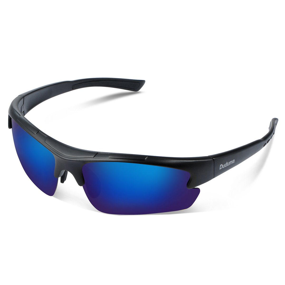 Duduma Polarized Designer Fashion Sports Sunglasses for Baseball Cycling Fishing Golf Tr62 Superlight Frame (Black Matte Frame with Blue Lens) by Duduma