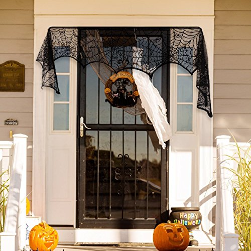 Ofocam Halloween Party Decoration Spider Web Cobweb Runner Fireplace Scarf Lace SpiderWeb Mantle Door Decor 18″ x 96″ Review