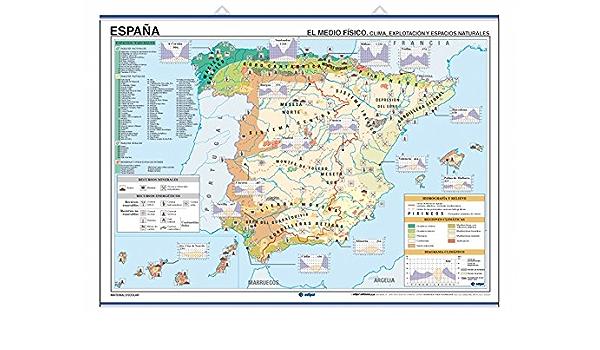Mapa mural España Temático impreso a doble cara regiones naturales-climatología / economía-población, con colgadores y tubo 140 x 100 cm: Amazon.es: Edigol Ediciones: Libros