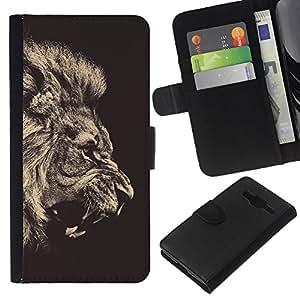 Stuss Case / Funda Carcasa PU de Cuero - Fierce Rugido del león Majestic - Samsung Galaxy Core Prime