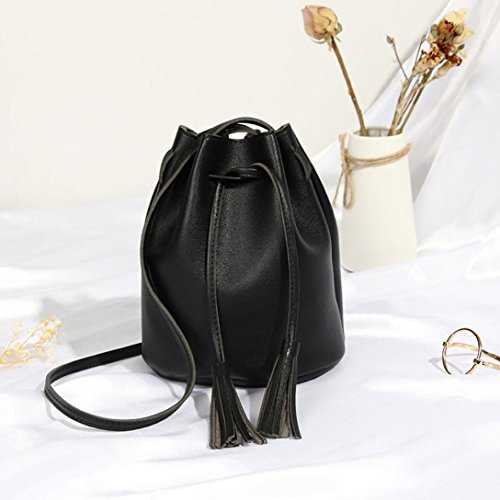 Bucket Messenger Bag High Women Ladies Capacity Muium Shoulder Pure Leather Color Crossbody Fashion Bag Tassels Bag Black TSnOYUT0x