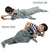 Cozy Shark Tails Blanket by CozyBomB for Kids - Smooth One Piece Blankie Design - Durable Seamless Snuggle Plush Throw - Enlarged Size Grey Sleeping Bag with Fin - Birthday For Boys and Girls