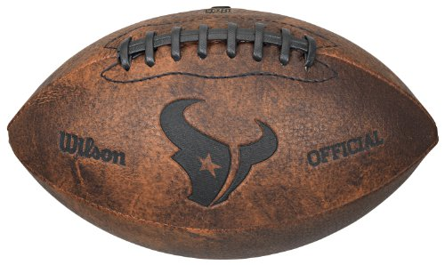 NFL Houston Texans Vintage Throwback Football, 9-Inches (Houston Texans Leather)