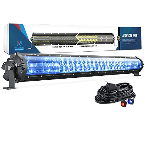 MICTUNING Magical M1s 31 Inch 180w Aerodynamic LED Light Bar (Upgraded) 12680lm with IceBlue Accent Light, Exclusive Curved Lens Wind Diffuser and Wiring ()