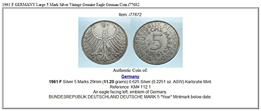 1961 Unknown 1961 F Germany Large 5 Mark Ar Vintage Genuine