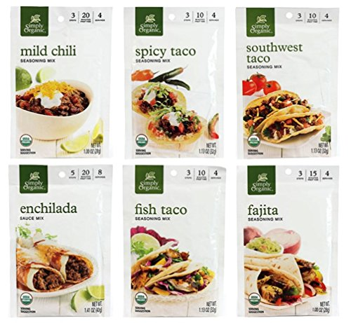 Simply Organic Mexican Seasoning Mix 6 Flavor Variety Bundle, 1 Each: Southwest Taco, Spicy Taco, Classic Fajita, Enchilada, Fish Taco, Mild Chili (1.00-1.41 Ounces)