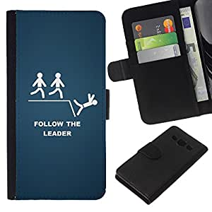 A-type (Follow The Leader divertido) Colorida Impresión Funda Cuero Monedero Caja Bolsa Cubierta Caja Piel Card Slots Para Samsung Galaxy A3