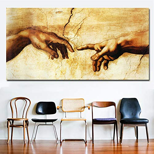 Faicai Art Banksy Graffiti Canvas Painting Creation of Adam Hand of God Printed Pictures Classical Religion Modern Wall Decor for Living Room Famous Art Prints Posters Framed Ready to Hang 28