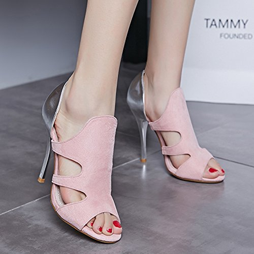 Womens Faux Suede Stiletto Sandals Cutouts Night Club Party Dress High Heel Pump Pink and Silver jNmZt