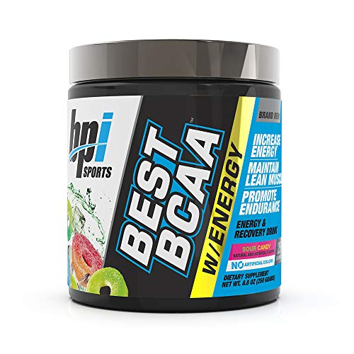 BPI Sports Best BCAA with Energy - Healthy BCAA Powder - Improved Performance - Lean Muscle Building - Accelerated Recovery - Proprietary Energy Blend - Sour Candy - 25 Servings - 8.8 oz.