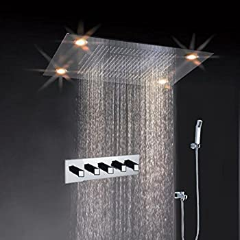 Merveilleux Cascada Classic Design 31 Inch (600mmx800mm) Large Rain Shower Set With  Waterfall LED Rectangle