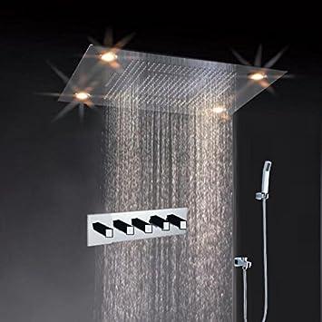 flush mounted rain shower head. Cascada Classic Design 31 Inch  600mmx800mm Large Rain Shower Set with Waterfall LED Rectangle