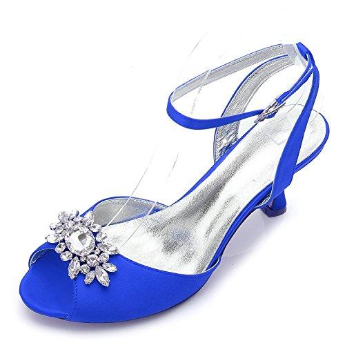 L@YC Zapatos De La Boda De Las Mujeres D17061-59 Rhinestone Baja Mid CAT Con El Partido De La Tarde abierta Zapatos CláSicos Formales Blue