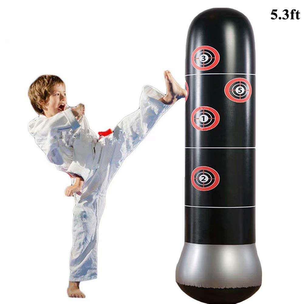 CRRD Fitness Punching Bag Heavy Punching Bag Inflatable Punching Tower Bag Freestanding Children Fitness Play Adults De-Stress Boxing Target Bag by CRRD
