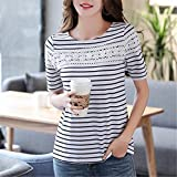 Summer Stripes Blouse Lace Women Sweet Slim Blouses Womens Tops Shirts Korean Blusas Female
