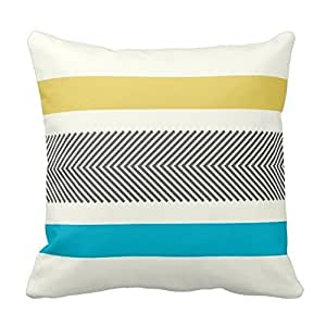 JSBStore Cotton Linen Decorative Throw Pillow Case Cushion Cover Aqua Yellow Gray Off White Arrow Herringbone 18 X 18 Gift Choice