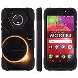 [Mobiflare] Dual Layer Armor Case [Kickstand] for Motorola Moto E [4th Gen] [Black/Black] Mil-Spec - [Solar Eclipse]