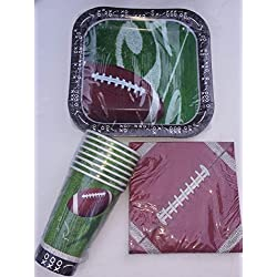 Football Theme Paper Plates Napkins and Cups by Party!