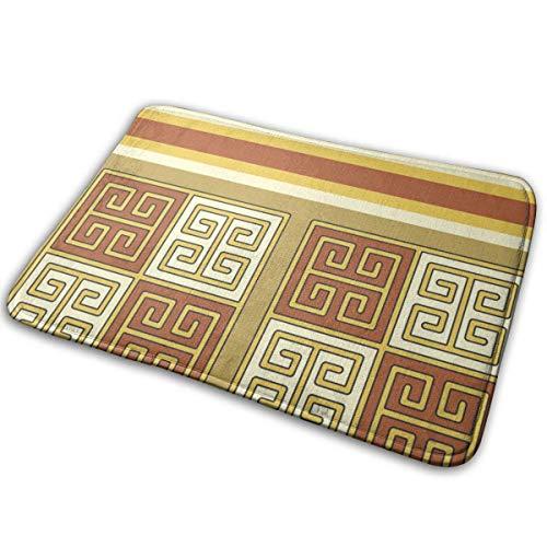 (Indoor Door Mat with Non Slip Backing,Bayeux Greek Key Terra Cotta Stripe Easy Clean Outdoor Doormats,Waterproof Low Profile Modern Aqua Runners Area Rug,24x16 in)