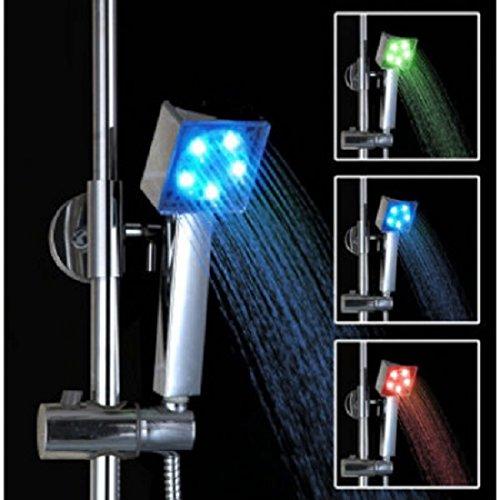 HGold Alcachofa de Ducha LED Cabezal de Ducha de Mano Cuadrado con 3 Cambios de Color No Necesita Pilas