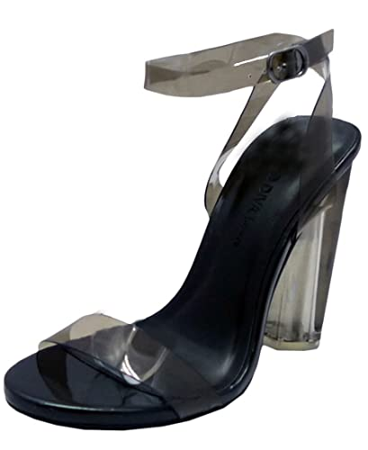2558d694ca165 Wild Diva Women's Lucite Clear Strappy Block Chunky Heel Sandal