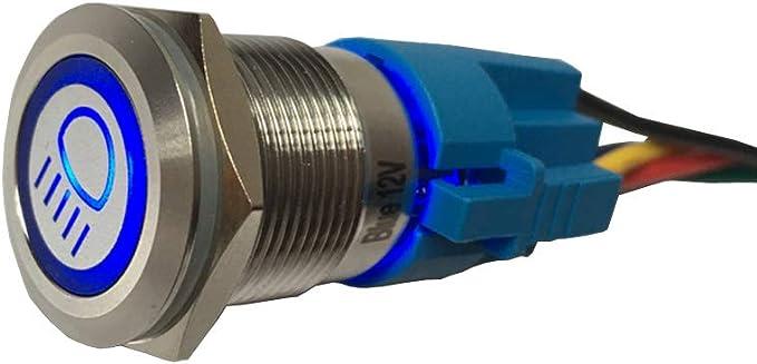 Mintice Rostfreier Stahl 19mm Kfz Kippschalter Wippschalter Druckschalter Schalter Drucktaster 12v Blau Led Licht Metall Fernlicht Steckdose Stecker Auto