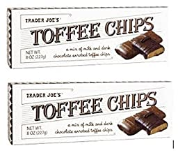Trader Joes Toffee Chips - Mix of Milk and Dark Chocolate (2 Pack) 8 Oz