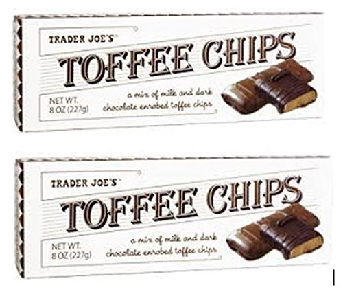 Trader Joes Toffee Chips - Mix of Milk and Dark Chocolate (2 Pack) 8 Oz (Trader Joes Coffee Candy)