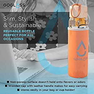 GoGlass Aspen Break-Resistant Insulated Sleeve Glass Water Bottle, 20-Ounce, Grey