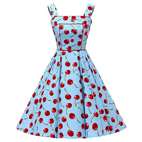 Shoulder Blue Dress Vintage Cherries 50s 100 Cotton Floral Polka Swing Dot FiftiesChic Rockabilly Straps dq7wdZ