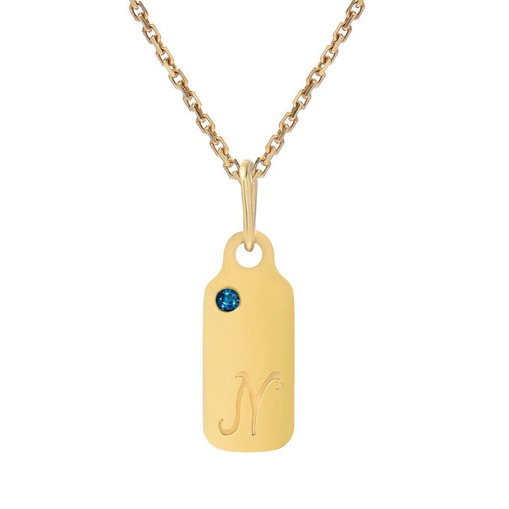 14k Gold Blue Topaz December Birthstone Cursive Letter N Dog-tag Necklace