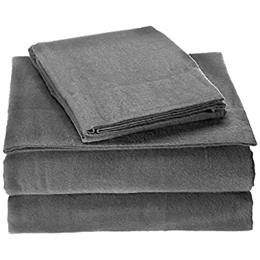 Brielle Cotton Flannel Sheet Set, Queen, Grey