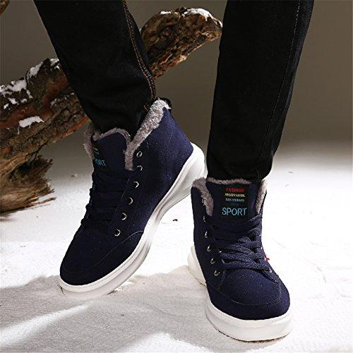 SAGUARO® Hommes Bottines Hiver Chaud Lacets Boots Cheville, Bleu profond, 43 Asia 42 EU
