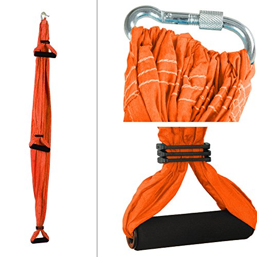 Antwalking Deluxe Air Flying Yoga Hammock Aerial Yoga Hammock Fitness Swing Hammock with 440lb Load Bearing (Orange)
