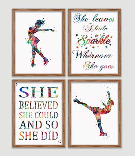 (Ice Skating Watercolor Poster Set Ice Skater Girl Female Woman Dancer Art Prints Figure Skating Wall Decor Winter Sports Artworks Girl's Room Decor Ice Skating Wall Art Great Gift for Ice Skater)