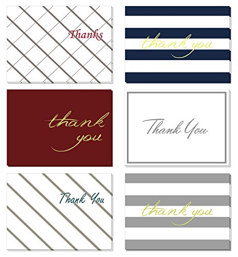 Red 5 Business Card - (48 pack) Thank You Cards Set with Envelopes - Professional paper with silver gold red blue foil letters and blank white inside - Bulk pack of notes perfect for baby shower wedding birthday party