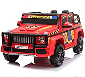 sopbost 12V Electric Ride On Car for Kids Ride On Toys with Remote Control Battery Powered Electric Vehicles, Led Police Siren Flashing Light, Speaker Mic, Bumper Guard, Music Player, Bluetooth, Red