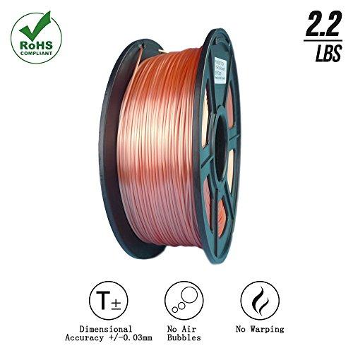 Suntop PLA 3D Printer Filament, Dimensional Accuracy +/- 0.03 mm, 1 kg Spool, 1.75 mm, Silk Orange