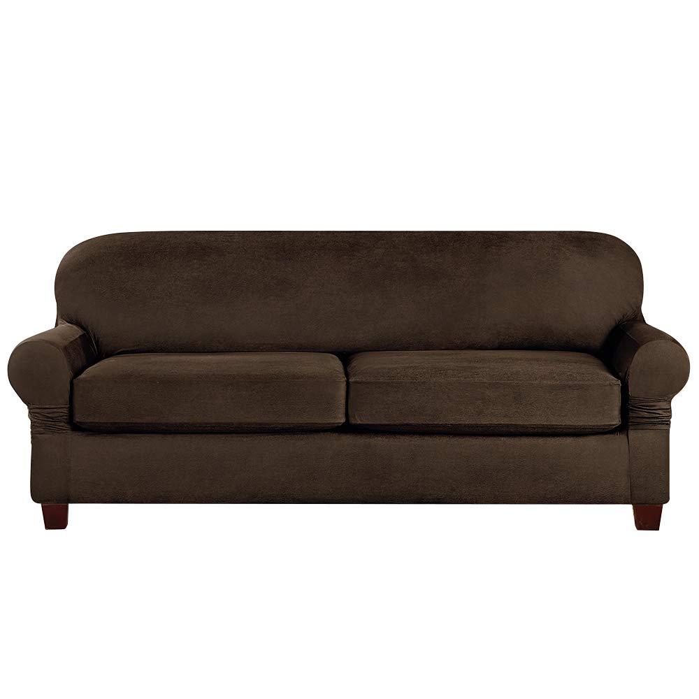 SurefitVintage Leather Three Piece, Brown Slipcover, Sofa