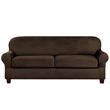 SurefitVintage Leather Three Piece, Brown Slipcover, Sofa