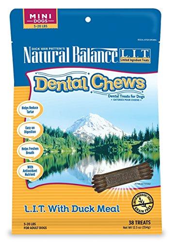 Formula De Mini (Natural Balance Dental Chews Dog Treats, L.I.T. Limited Ingredient Treats Duck Meal Formula, Grain Free, For Mini Dogs, 12.5-Ounce)