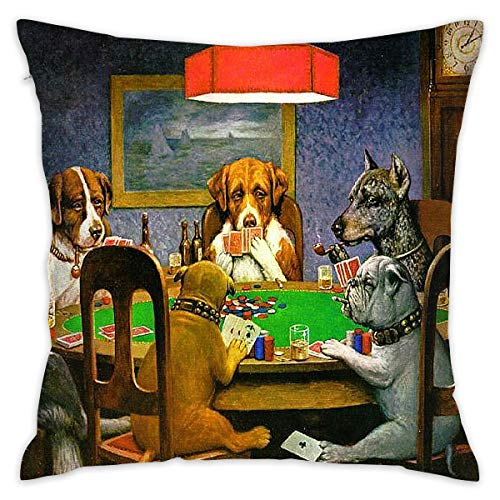Dog Poker Play (Fancy Forest Home Dog Play Pokers Spring Throw Pillow Covers for Couch Bed Sofa, Personalized Pillow Cases Decorative Pillowcase Covers with Zipper 18 X 18 Inch)